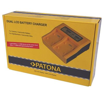 Patona Dual LCD caricabatterie doppio caricatore Sony per fotocamere videocamere smartphone