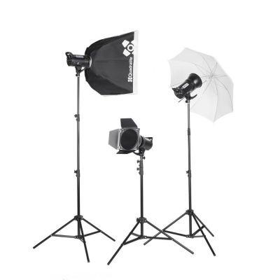 Quadralite Up! 700 - Kit 2 Flash da Studio 200W + 1 da 300W + 3 stativi + 1 ombrello + 1 pannello + 1 softbox