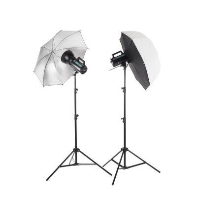 Quadralite Move 200 - Kit 2 Flash da Studio 200W + 2 stativi + 1 ombrello + 1 softbox + 1 cavo sync