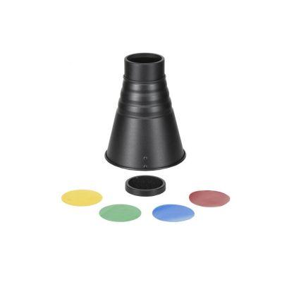 Quadralite Snoot Pro Bowens SN-5001 Cono Flash + griglia nido d'ape + filtri colorati