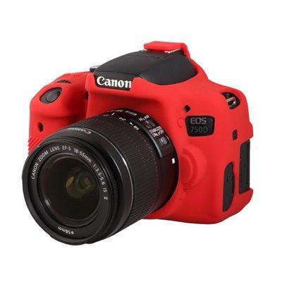 Custodia protezione EasyCover camera case in silicone morbido per Canon 750D Rosso