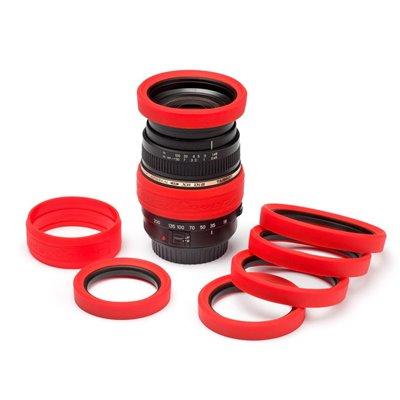 EasyCover anello paraurti in silicone per obiettivo lens rim protettivo 62mm rosso