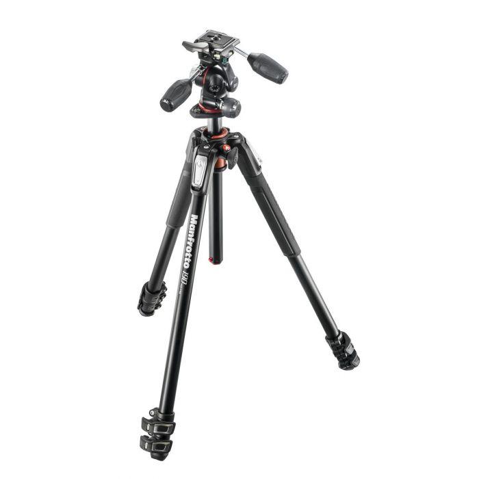 Manfrotto Foto Kit Treppiedi + Testa serie 190 a 3 sezioni alluminio con testa a 3 vie MK190XPRO3-3W cavalletto treppiede