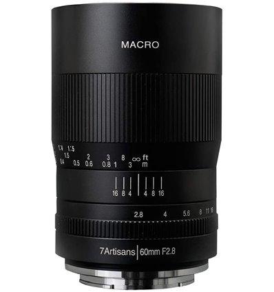 Obiettivo 7Artisans 60mm F2.8 Macro nero compatibile fotocamere micro 4/3 (A112-M)