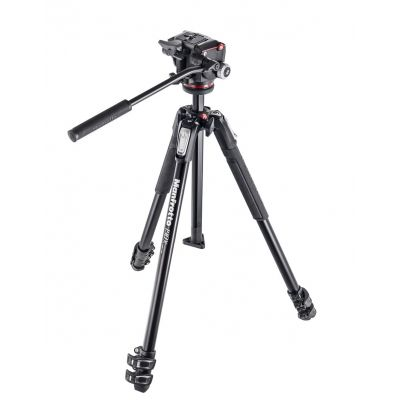 Manfrotto Foto Kit serie 190 a 3 sezioni, con testa foto/video fluida MK190X3-2W