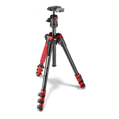 Manfrotto Foto Kit Traveller con testa a sfera, 4 sezioni alluminio rosso MKBFRA4R-BH