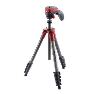 Manfrotto Foto Treppiedi Compact Action rosso con testa joystick MKCOMPACTACN-RD