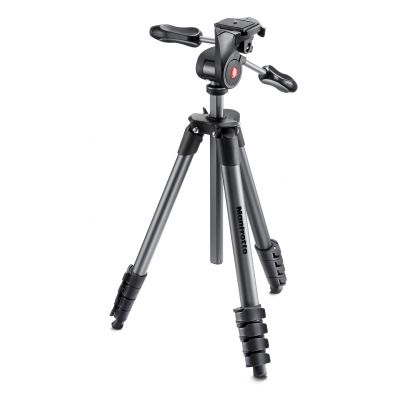 Manfrotto Foto Treppiedi Compact Advanced nero con testa tre vie MKCOMPACTADV-BK