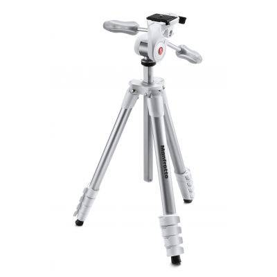 Manfrotto Foto Treppiedi Compact Advanced bianco con testa tre vie MKCOMPACTADV-WH