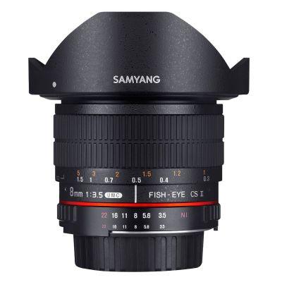 Obiettivo Samyang 8mm f/3.5 Fish-eye CS II con paraluce x Fuji Fujifilm X Lens
